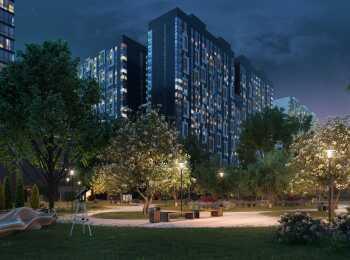 Ночная подсветка жилого комплекса